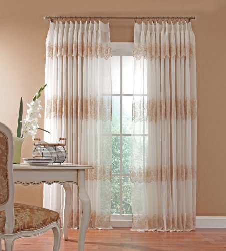 "Gladys RoseTM High-End Embroidered Sheer Pinch Pleated Panel Pair By GoodGram® (144"" in. W x 95"" in. L)"
