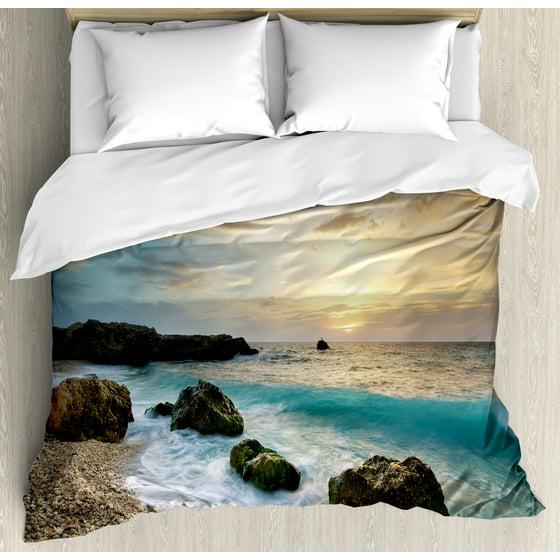Ocean Queen Size Duvet Cover Set Seascape Composition Of