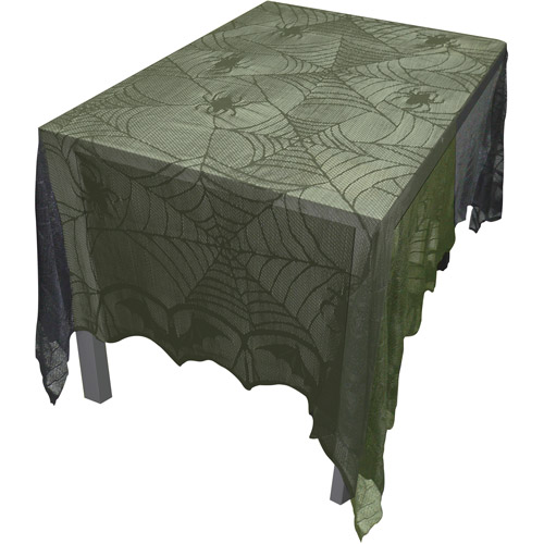 """48"""" x 96"""" Lace Bats and Spider Webs Tablecloth"""