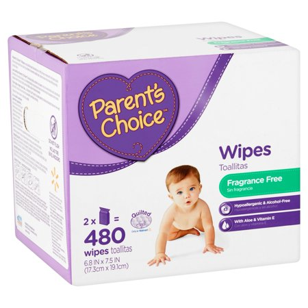 Parent's Choice Fragrance Free Baby Wipes, 480 count (2 packs of 240)