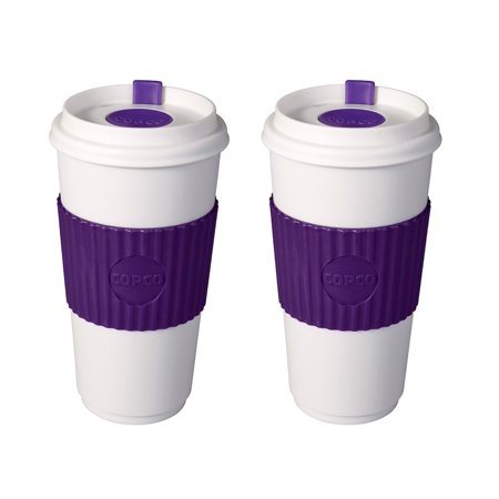 - 2 Pack Copco Original To-Go-Cup With Non Slip Textured Sleeve & Leakproof Lid - BPA Free Plastic 16 Oz - Purple White