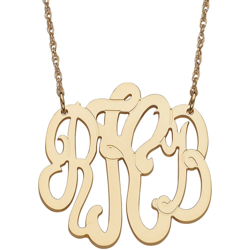 """Personalized Women's 14kt Yellow Gold 3-Initial Monogram Necklace, Medium, 18"""""""
