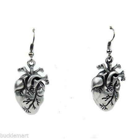 Pewter Gothic Human Heart Anatomical Earrings Set Vampire Halloween for $<!---->