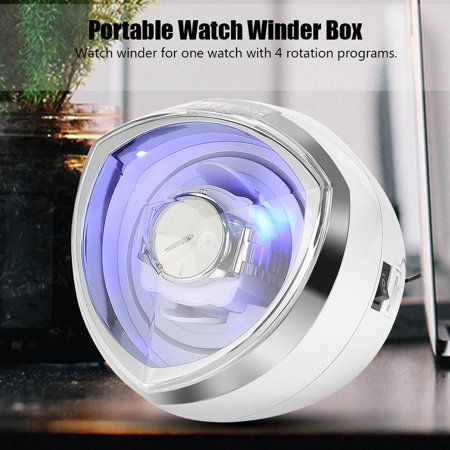 HURRISE Portable Watch Winder Box Display Cases Automatic Rotating Blue LED Lighting US,Watch Winder, Automatic Watch Winder - image 9 of 13