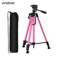 Andoer Lightweight Photography Tripod Stand Aluminum Alloy 3kg Load Capacity Max. Height 135cm/53in with Carry Bag Phone Holder for Canon Sony Nikon DSLR Camera for Xiaomi Huawei Smartphone