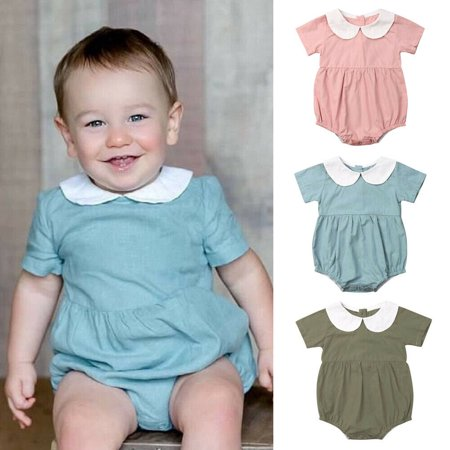 US Vintage Newborn Infant Baby Girls Short Sleeves Romper Summer Outfit Clothes