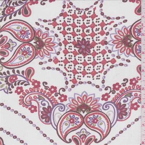 White/Orange Paisley Silk Chiffon, Fabric By the Yard