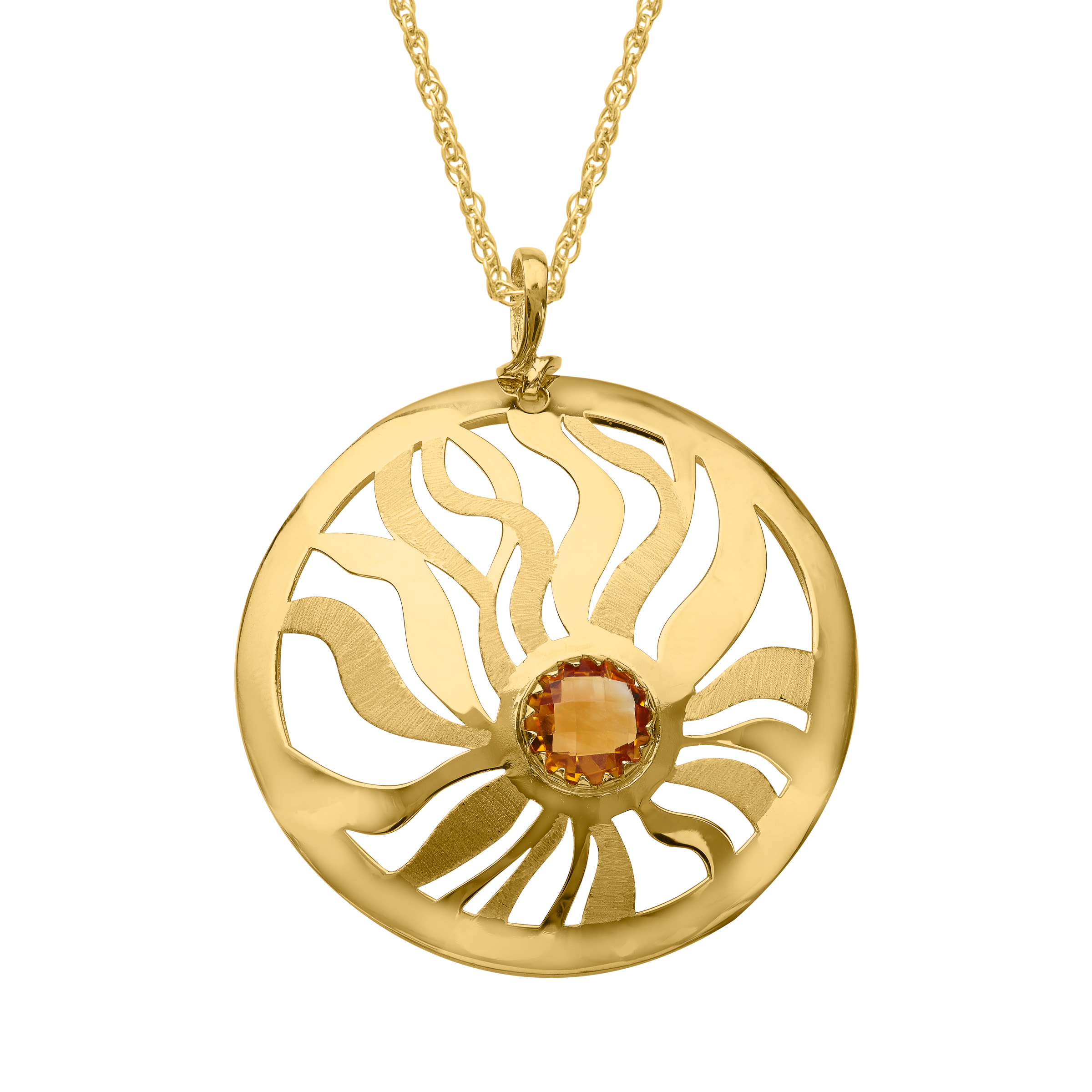 1 3 4 ct Natural Citrine Medallion Pendant Necklace in 14kt Gold by Richline Group