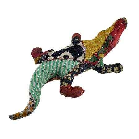 Vintage Sari Fabric Covered Paper Mache Alligator Sculpture - image 2 of 3