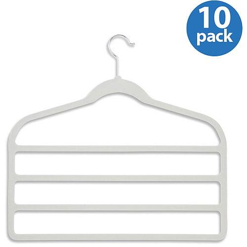 Honey-Can-Do Velvet Touch 4-Step Pant Hanger, White, 10-Pack