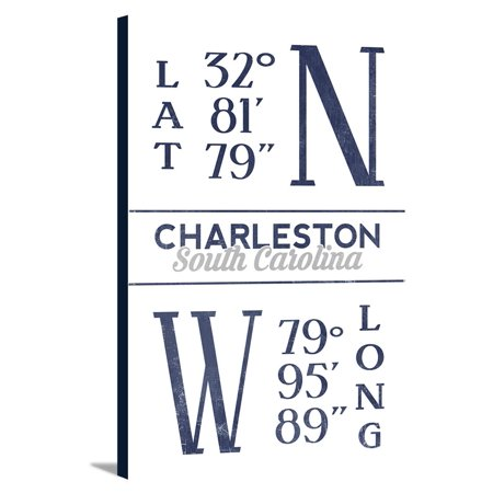 Charleston Lantern (Charleston, South Carolina - Latitude & Longitude (Blue) - Lantern Press Artwork (12x18 Gallery Wrapped Stretched)