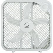 """Genesis 20"""" Box Fan, 3 Settings, Max Cooling Technology, Carry Handle, White"""