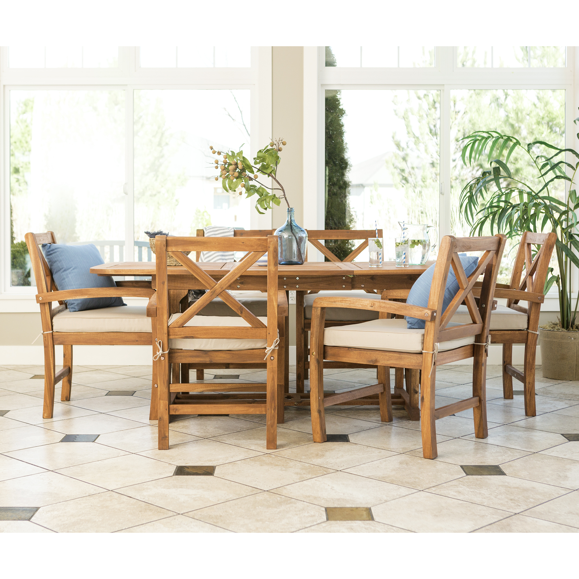 Manor Park 7-Piece X-Back Wood Outdoor Patio Dining Set with Cushions - Brown