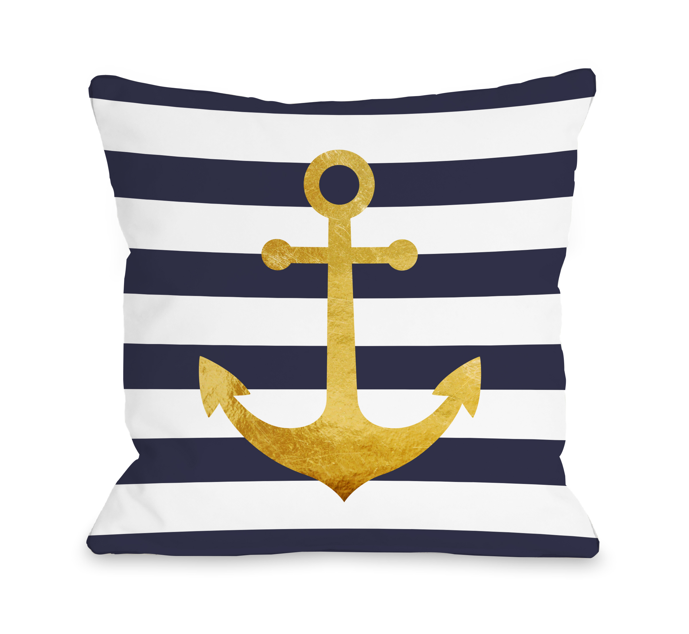 Nautical Stripes Anchor - Navy 16x16 Pillow by OBC