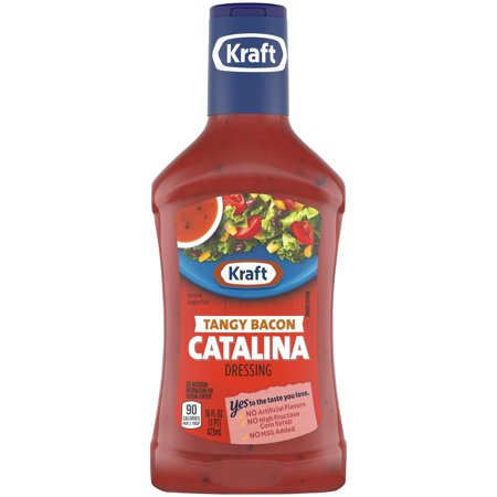 (3 Pack) Kraft Tangy Catalina with Bacon Dressing, 16 Fl Oz -