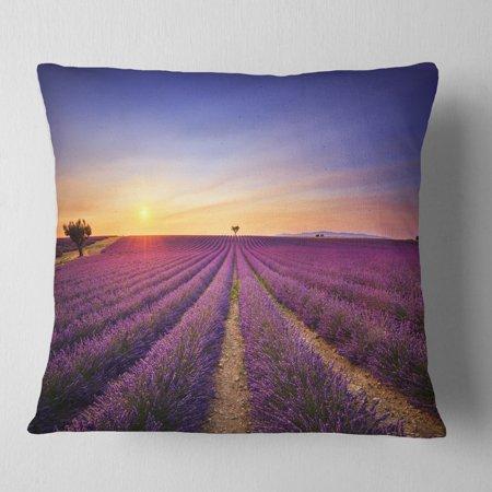 DESIGN ART Designart 'Lavender Field in Provence France' Landscape Wall Throw Pillow