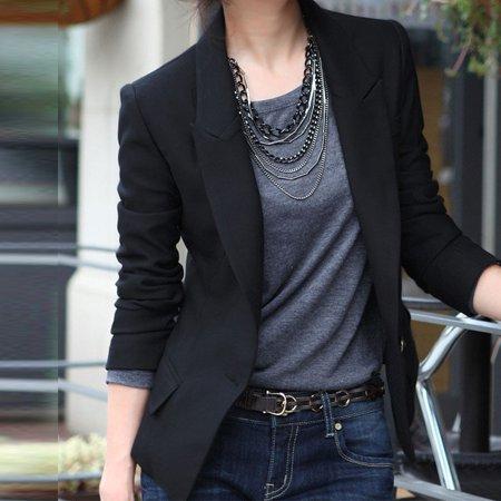 Fashion Casual Slim Solid Suit Blazer Coat Jacket Outwear Women Black Color