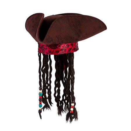 Jack Sparrow Pirate Hat (Jack Caribbean Sparrow Tricorn Pirate Hat Buccaneer Beads Dreadlock Hair)
