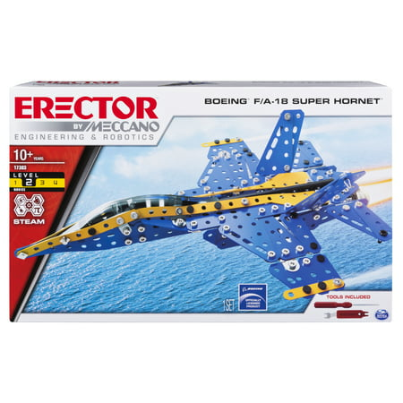 Erector by Meccano, Boeing F/A-18 Super Hornet STEM Building Set with Foldable Wings, for Ages 10 and Up - Metal Erector Set