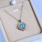 Women's Heart-Printed Moonstone Zircon Clavicle Chain Necklace