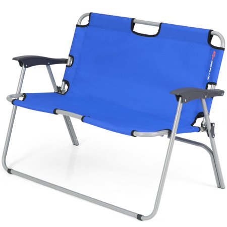 Topbuy 2 Person Camping Folding Chair Loveseat Bench Portable Outdoor Chair