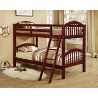 Beth Twin over Twin Arched Wooden Bunk Bed, Cherry with Guard Rails & Step Ladder