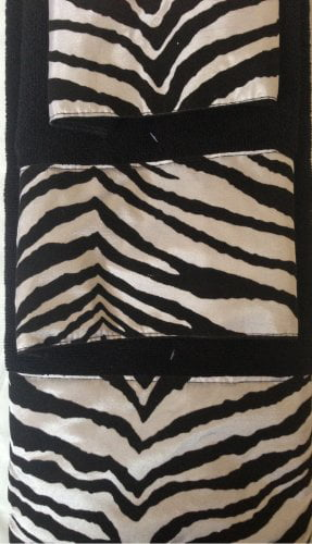 3 Piece Bath Towel Set- Black White Zebra Print Wash Had and Bath Towel by