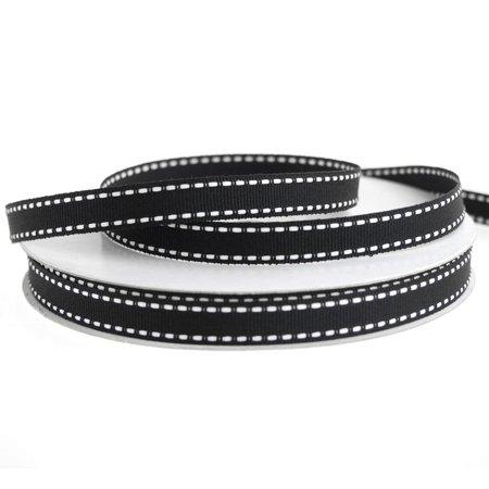 Stitched Grosgrain (Saddle Stitch Border Grosgrain Ribbon, 3/8-Inch, 25 Yards, Black/White )