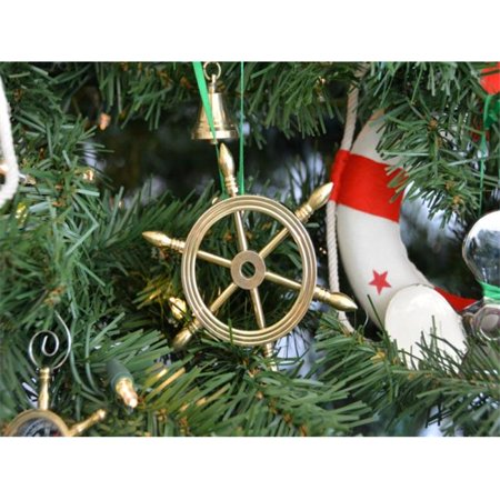 Handcrafted Model Ships Sw 1754 Xmass Solid Brass Ship Wheel Christmas Tree Ornament