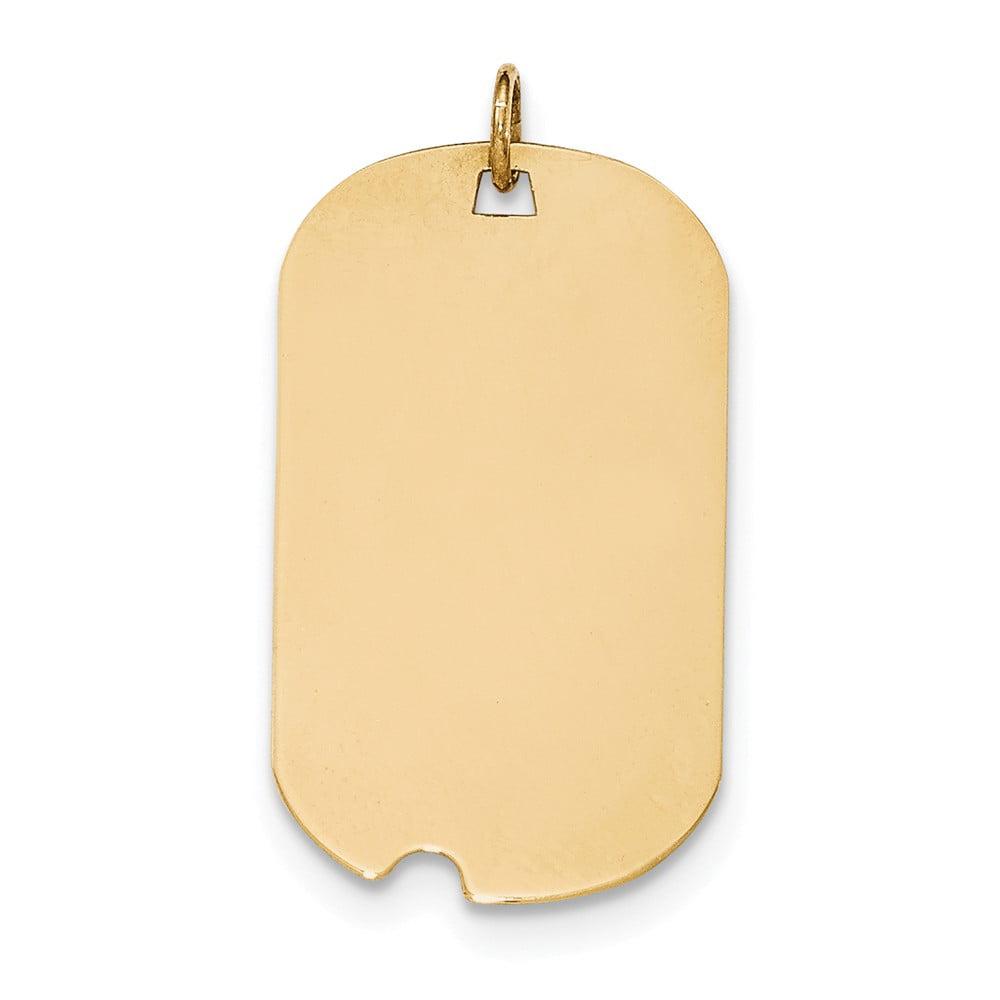 14k Yellow Gold Plain .013 Gauge Engravable Dog Tag w/Notch Disc Charm