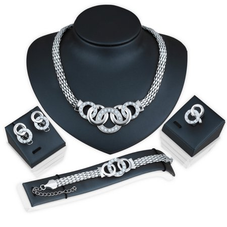 - Fashion Women Necklace Bracelet Earrings Ring Set Bridal Wedding Jewelry Set Gifts New