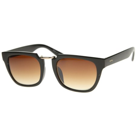 MLC Eyewear Urban Fashion Rectangular Flat Top Brow Bar Sunglasses (Flat Brow Sunglasses)