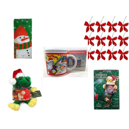 Christmas Fun Gift Bundle [5 Piece] - Assorted  Cello Bags With Ties - Set of 12 Red Velvet White Trim Wire Bows - Treasury of Gifts 11 Oz. Covered Stoneware Mug -  Santa Frog  Gift Card Holder 6