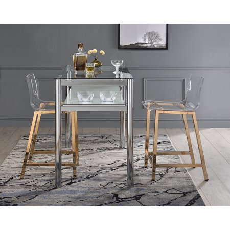 Astounding Acrylic Counter Stool Rose Gold Set Of 2 Inzonedesignstudio Interior Chair Design Inzonedesignstudiocom
