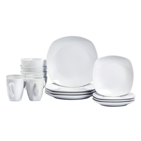 Logan White Square Dinnerware Set, 16 Piece ()