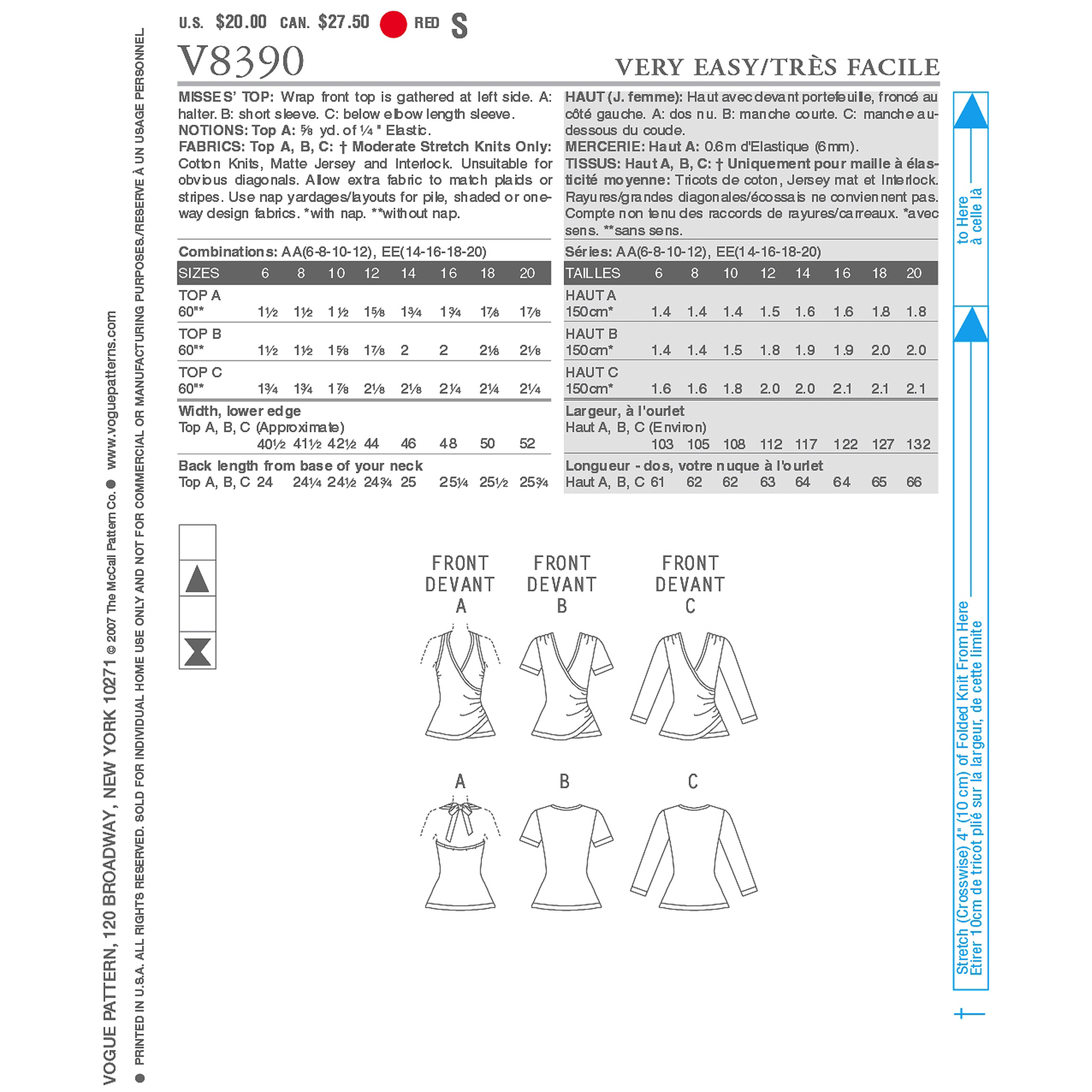 Vogue Pattern Misses' Top, AA (6, 8, 10, 12)