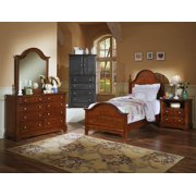 Youth Panel Bed w Nightstand & Dresser Set in Cherry Finish (Twin)
