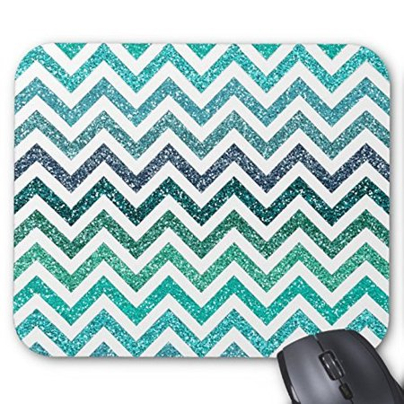POPCreation Shiny Turquoise Teal Glitter Zigzag Pattern Mouse pads Gaming Mouse Pad 9.84x7.87 inches