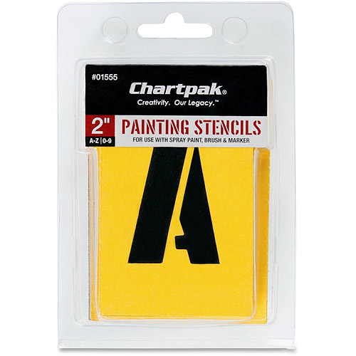 Chartpak Painting Letters/Numbers Stencils, 35 per Set