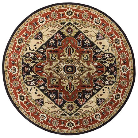 Tufted Serapi Covered Field Brown & Brick Round Area Rug, 12 x 12 ft.