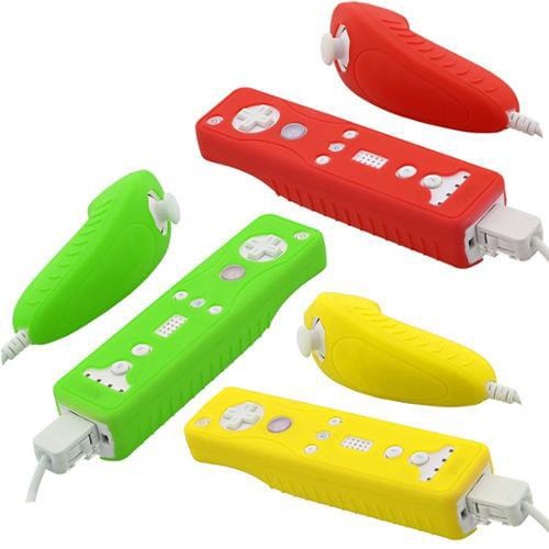 Fosmon Nintendo Wii Remote and Nunchuck Safe-Grip Silicone Skin Case - Yellow, Red & Dark Green