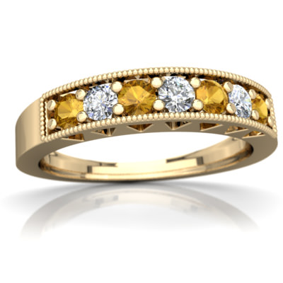 Citrine Milgrain Band Ring in 14K Yellow Gold by