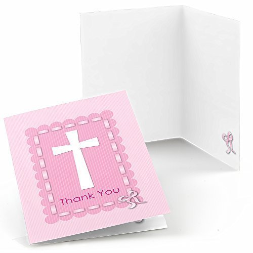 Delicate Pink Cross - Baby Shower or Baptism Thank You Cards (8 count)