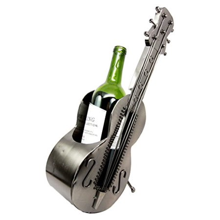 Ebros Gift Acoustic Guitar On Stand Hand Made Metal Wine Bottle Holder Caddy Decor Figurine 14.5