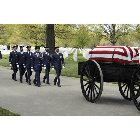 A United States Air Force Honor Guard body bearer team marches behind a caisson during a full-honors funeral ceremony at Arlington National Cemetery Poster Print (Halloween Funeral March)