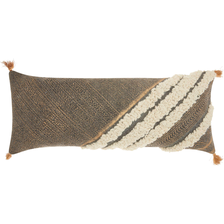 """Nourison Life Styles Diagonal Metallic Texture Boho Decorative Throw Pillow, 16"""" x 33"""", Grey"""