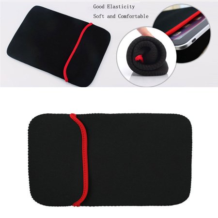 CableVantage Red Black Soft Neoprene Sleeve Case Cover Pouch Bag For Apple Samsung 10
