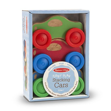 Melissa & Doug Stacking Cars Wooden Baby Toy (Baby Car Toy Vehicle)