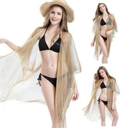 Women Boho Floral Chiffon Kimono Long Cardigan Beach Cover Up Jacket Coat Blouse (Golden Vest For Women)