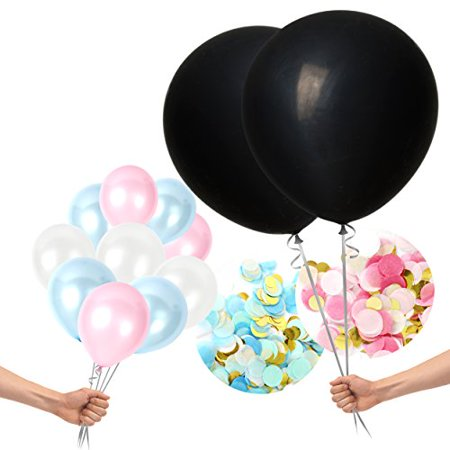 Gender Reveal Balloons Decoration Kit for Boys, Girls With Sparkly Colorful Confetti Black, Pink & Blue Latex Balloons For Baby Showers, Party Supplies, Photographs by Treasures Gifted (Pink & Blue)